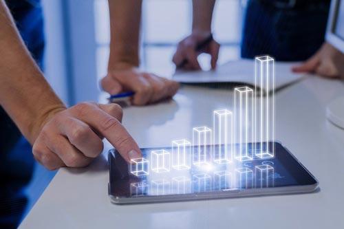 grafico 3D em tablet aumento de vendas